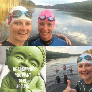 Lovely first OW-swim of the year at home! With a nice friend 😘 The seaweed almost caught us... 😂😂 #livbeyond #lovetotri #ow #owswim #alnöraceteam #nofilter Källa: Instagram
